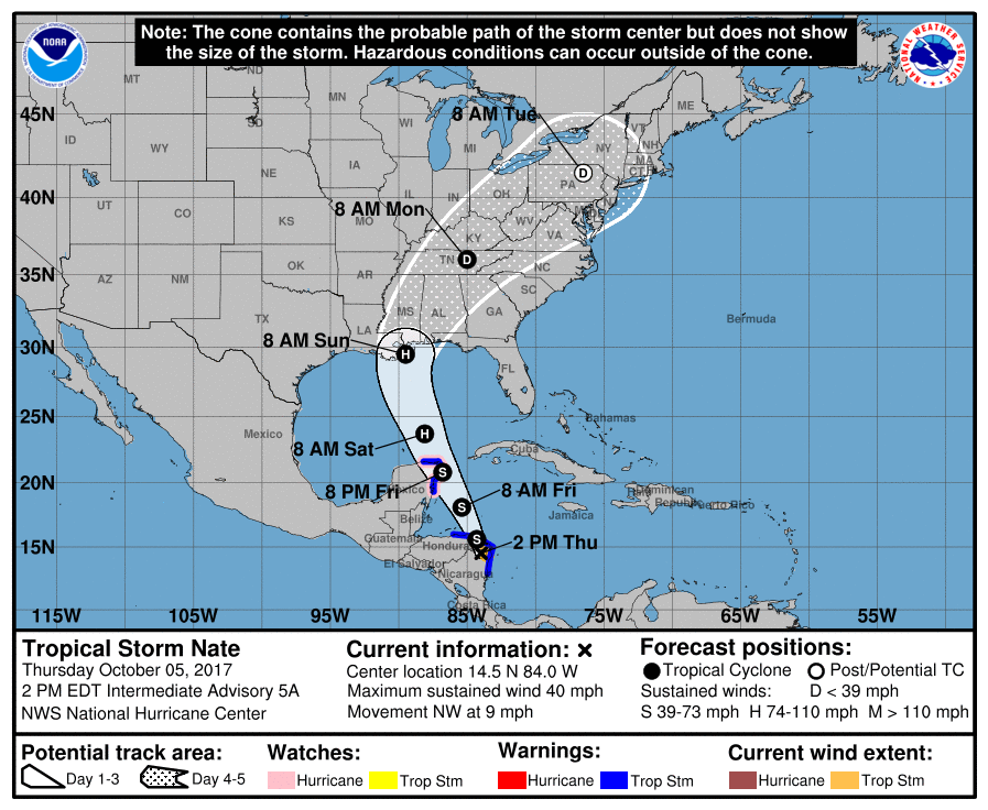 Storm Alert – Tropical Storm Nate – Orange Alert