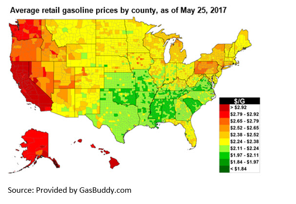 Gasoline Prices Ahead of Memorial Day Were Higher than 2016, but Second Lowest since 2009