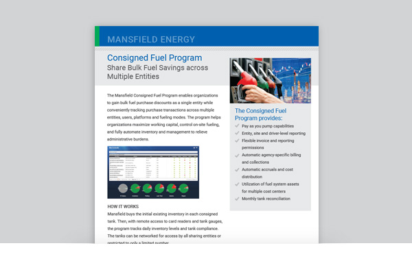 Consigned Fuel Program - Share Bulk Fuel Savings Across Multiple Entities