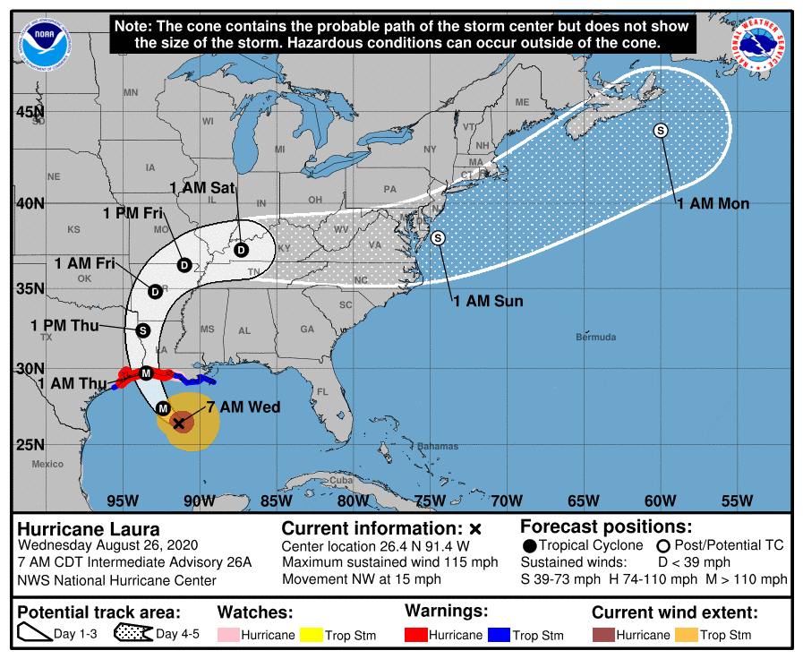 Storm Alert – Hurricane Laura – Code Orange