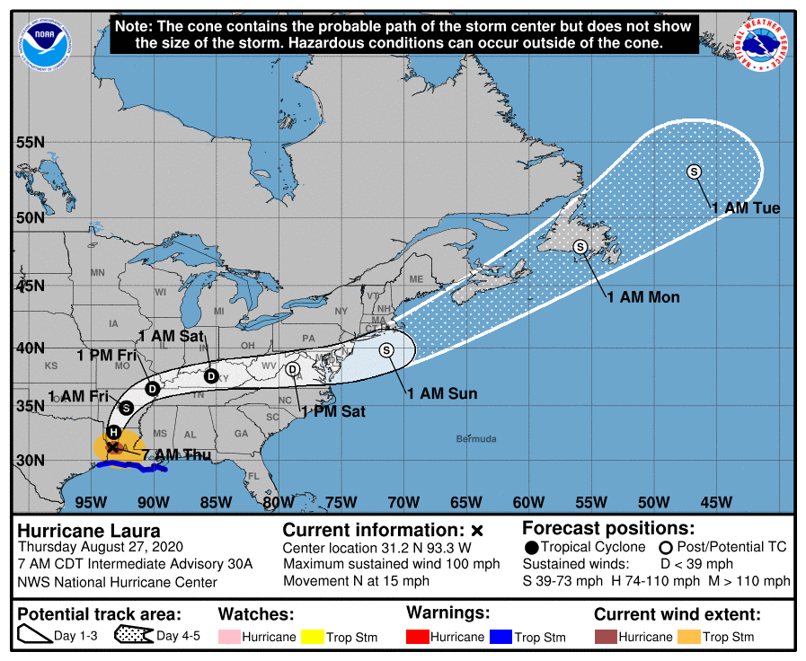 Storm Alert – Hurricane Laura – Code Orange for Louisiana and Arkansas