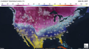 Sub-zero temperatures throughout the Northern Plains